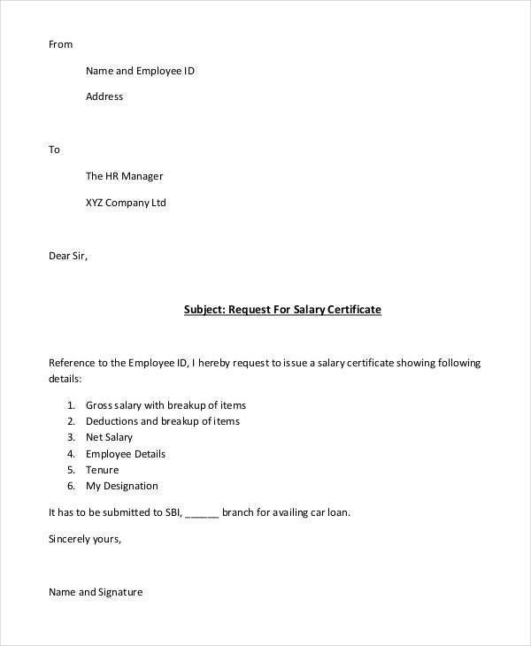 Salary certificate request letter sample application for employee 24 requisition letter samples yadclub Images