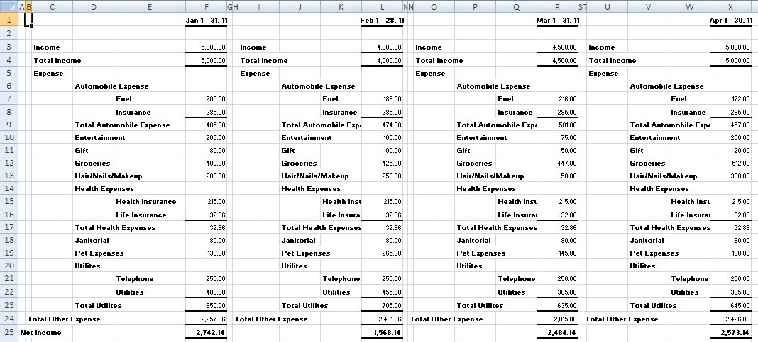 Monthly Income Statement Format In Excel Monthly Income Statement ...