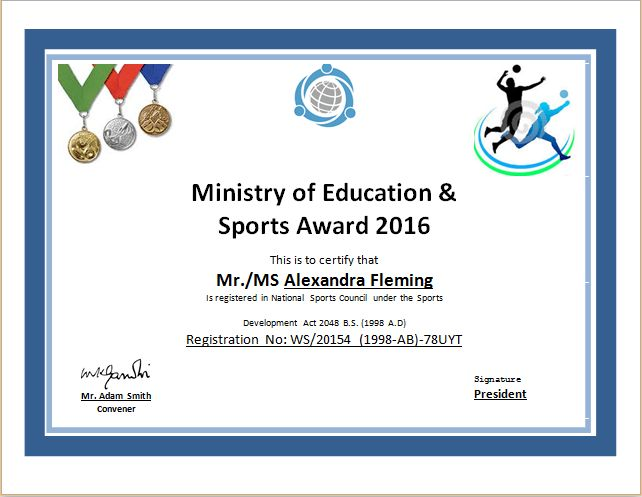 Sports Certificate Template for MS WORD | Document Hub