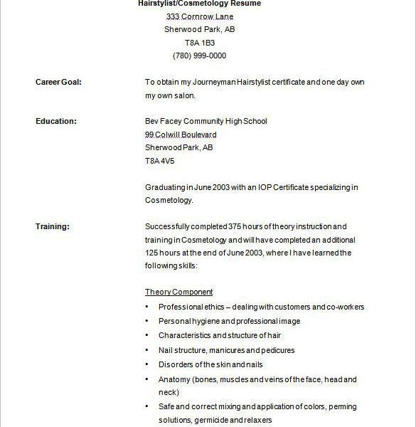 resume examples employment free hair stylist resume templates ...