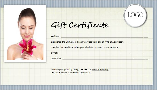 SPA Gift Certificate Template for MS WORD | Document Hub