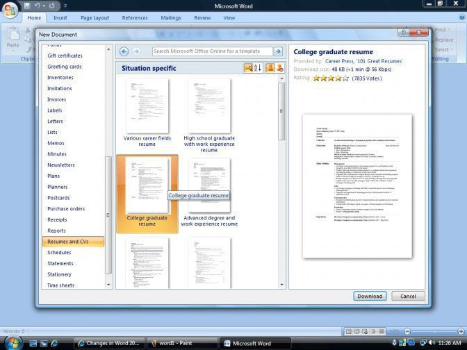 Microsoft Word 2007 Resume Template 12 Find Templates - Microsoft ...