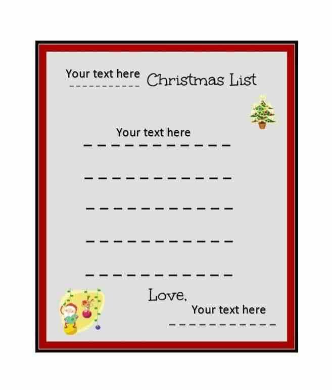 Christmas List Template. << Images On Pinterest | Holiday Ideas ...