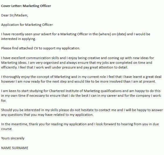 Marketing Officer Cover Letter Example - icover.org.uk