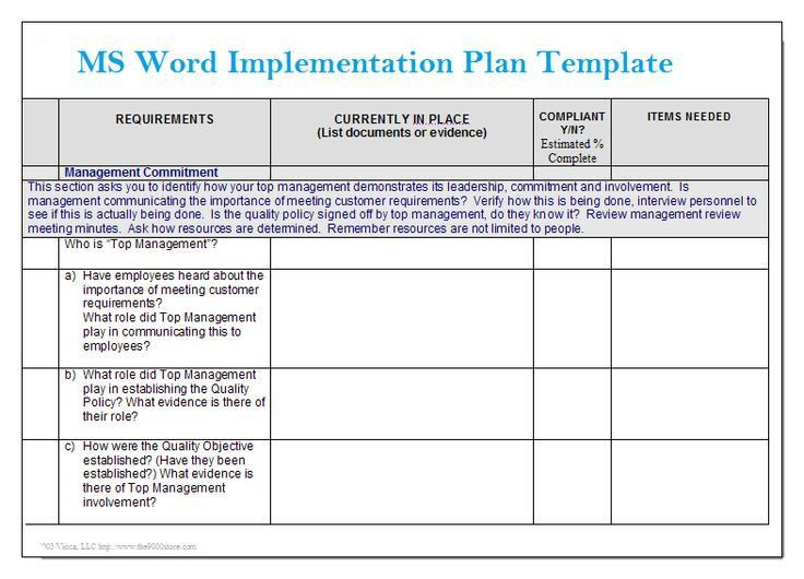 Implementation Plan Templates. Project Implementation Go / No Go ...