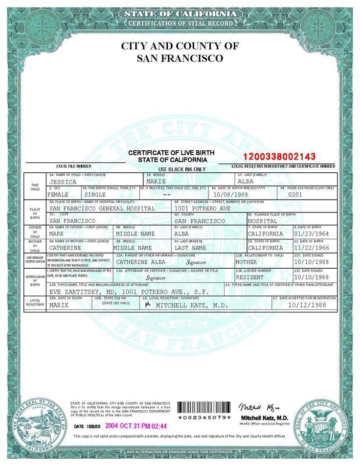 San Francisco Birth Certificate template | WORLD of stage ...