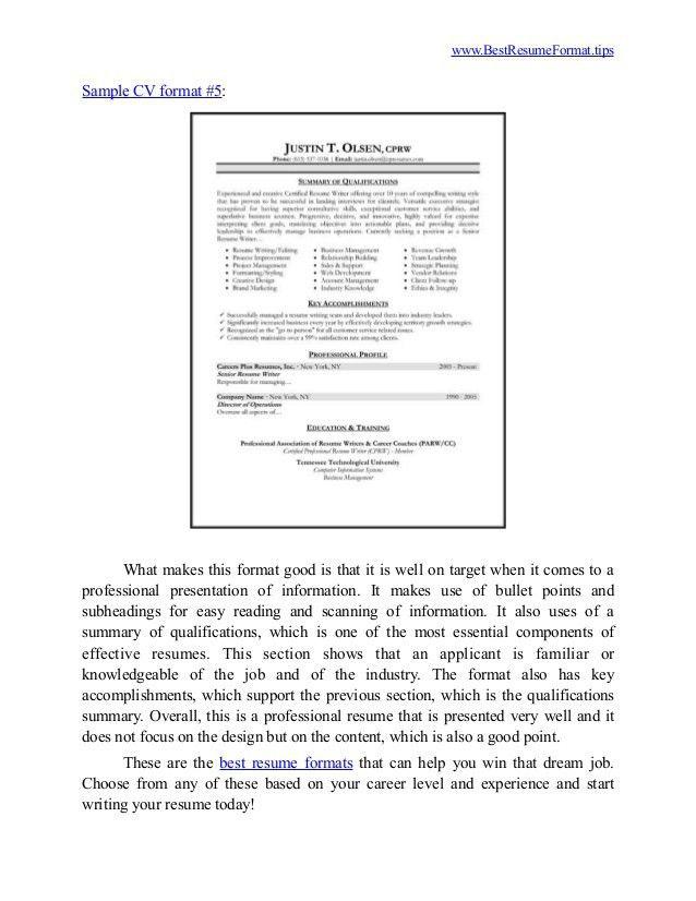 common resume format