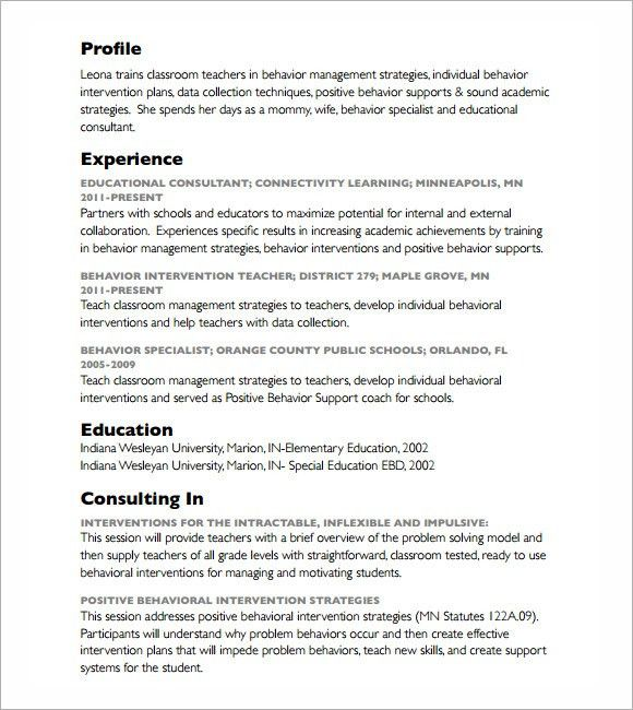 Resume Sample Behavioral Specialist Consultant Cover Letter