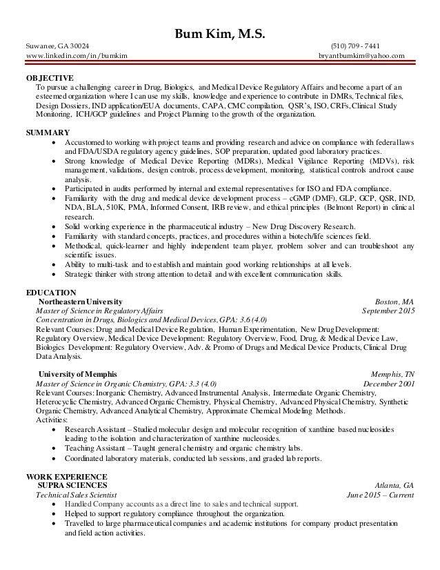 6 3-2016 regulatory affairs entry level resume bum kim