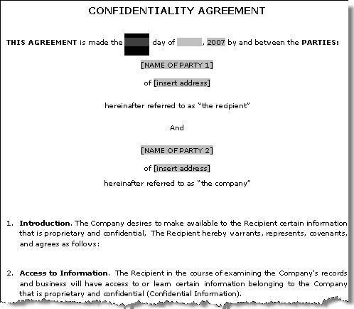 Confidentiality Agreement Template | Confidentiality Agreement Sample