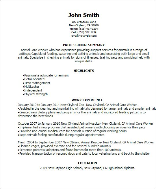 Professional Animal Care Worker Templates to Showcase Your Talent ...