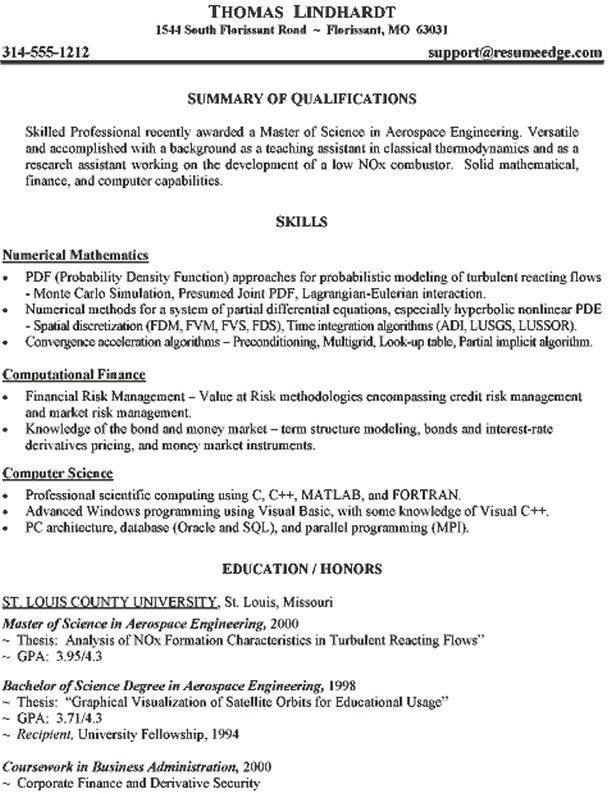 Aeronautical Engineer Resume Example - http://jobresumesample.com ...