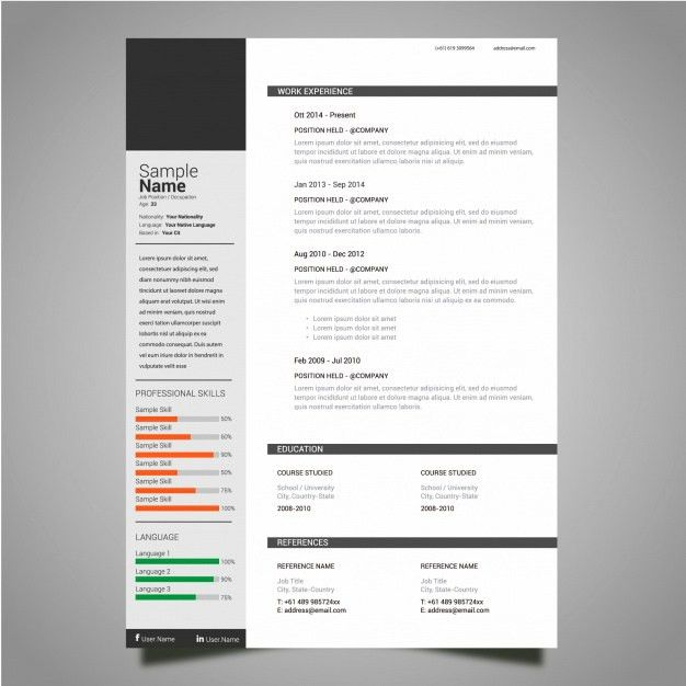 Classic resume template Vector | Free Download