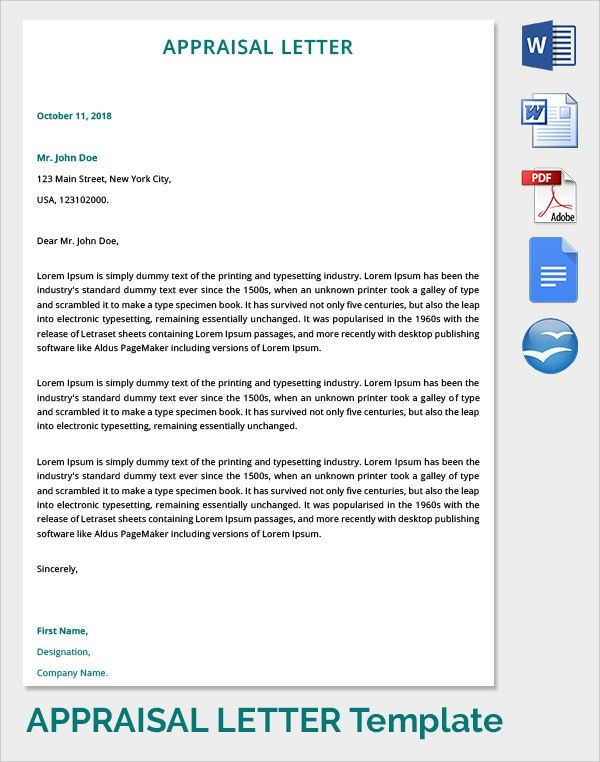 9+ Sample Letter of Appraisals | Sample Templates