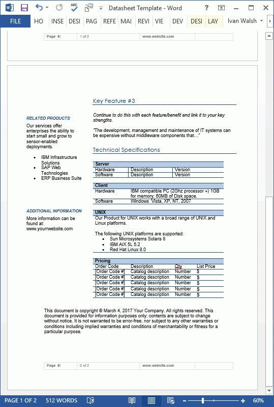 Datasheet Templates (2 x MS Word)