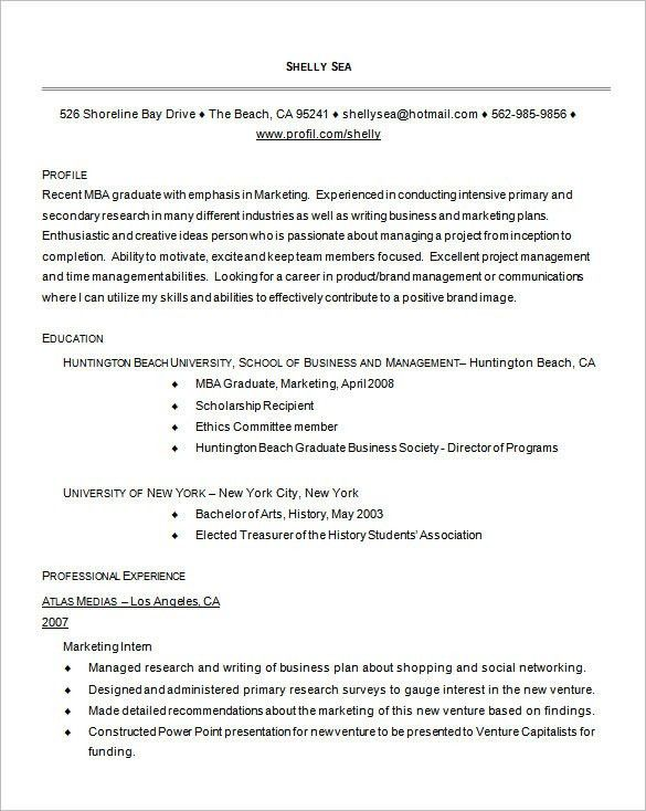 Downloadable Internship Resume Format For Mba Students Good Mba