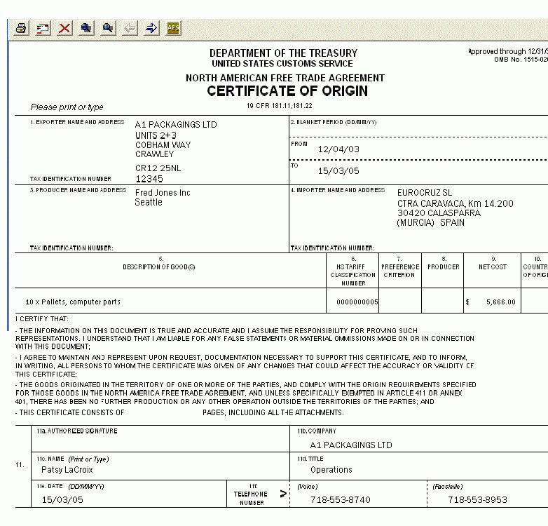 28+ Us Certificate Of Origin Template | Certificate Of Origin For ...