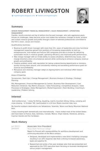 Associate Vice President Resume samples - VisualCV resume samples ...