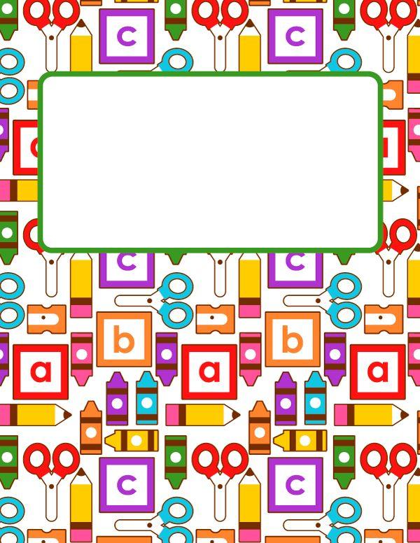 Free printable kindergarten binder cover template. Download the ...