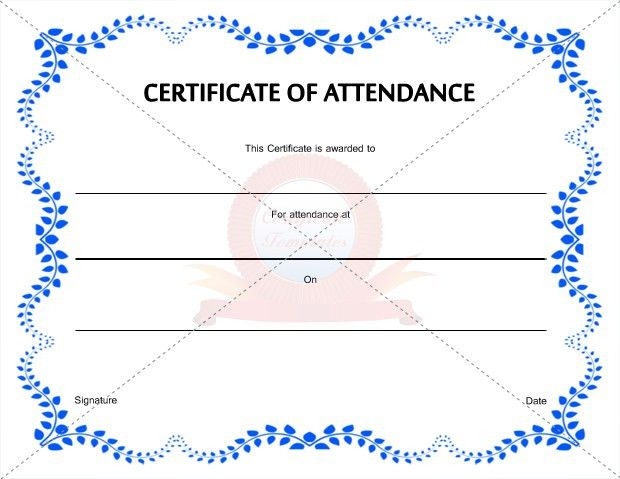 Free Printable Certificate Of Attendance Template With Blue Color ...