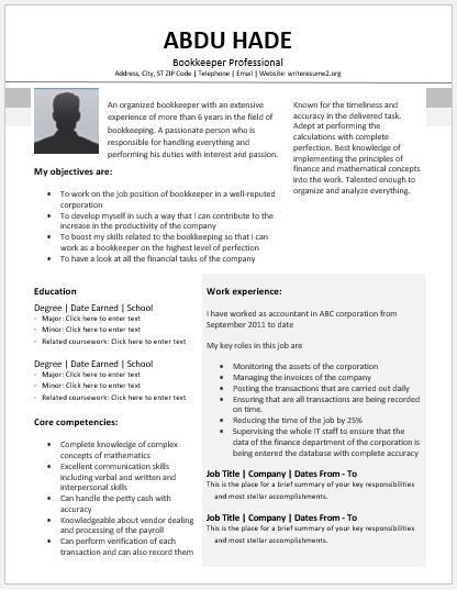 Bookkeeper Resume Contents, Layouts & Templates | Resume Templates