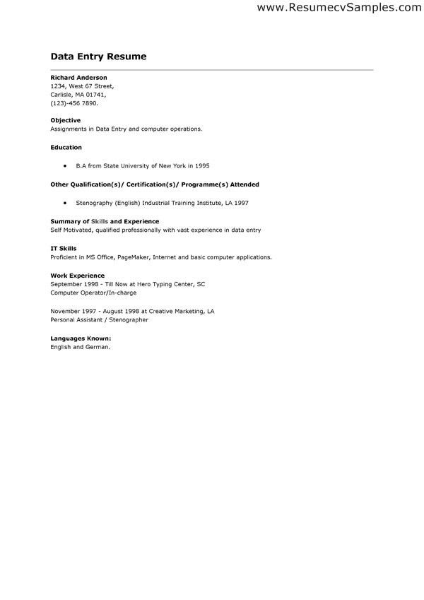 Data Entry Resume Sample with Personal Reference and Highlights ...