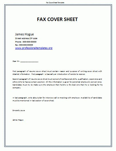 example of fax cover sheet