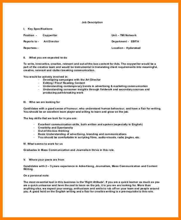 5+ copywriter job description | Introduction Letter