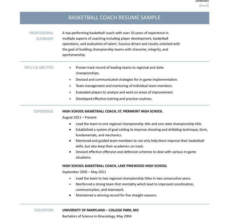 Awesome To Do Basketball Coach Resume 6 Basketball Coach Resume ...