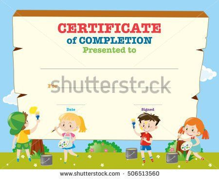 Certificate Template Kids Planting Trees Illustration Stock Vector ...