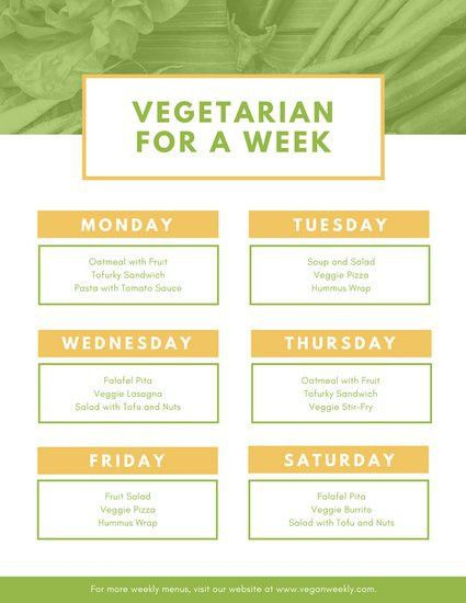 White with Green Vegetables Weekly Menu - Templates by Canva