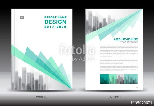 Annual report brochure flyer template, Green cover design ...
