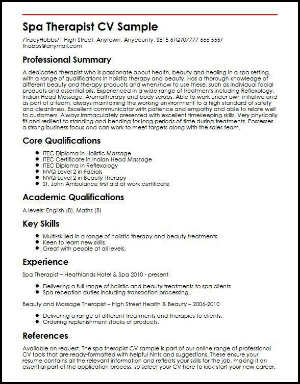 Spa Therapist CV Sample | MyperfectCV