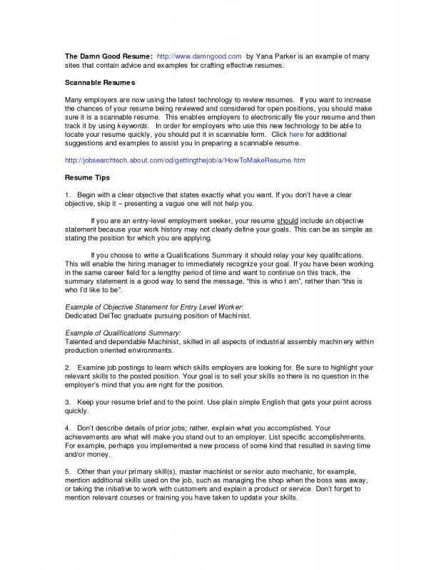 Machinist Resume Objective Examples. resume timothy lee burton ...