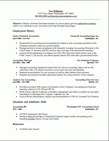 Accounting Resume, Accounting Resume Example