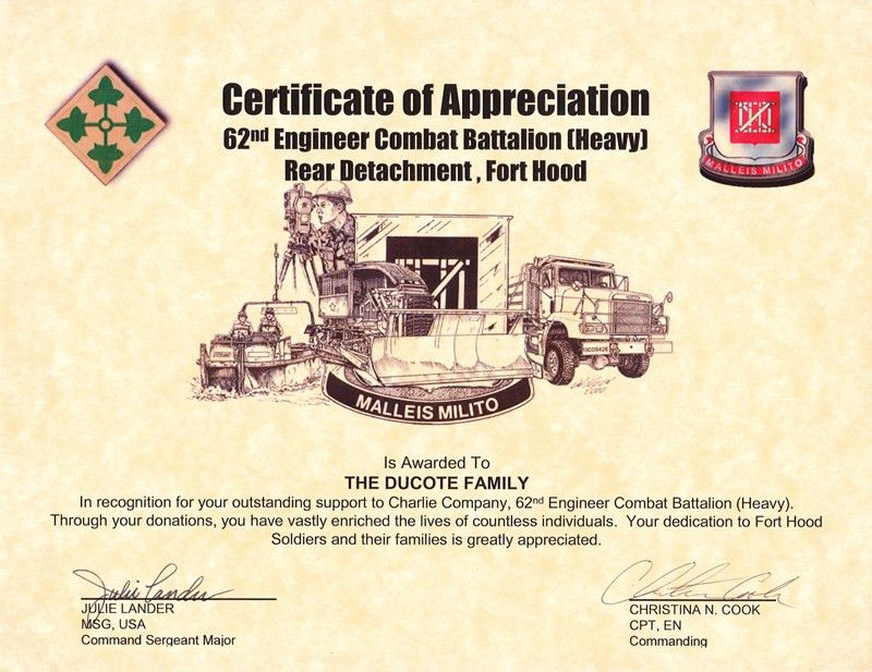 Certificates and partnerships - Operation Soldier Assist
