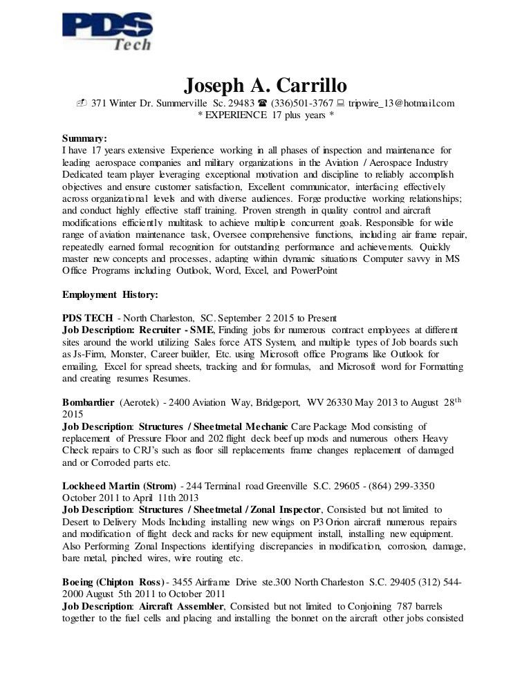 Joseph A Carrillo's Resume