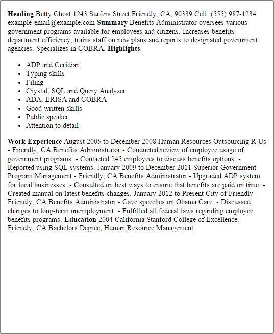 hr benefits administrator. health benefits administrator ...