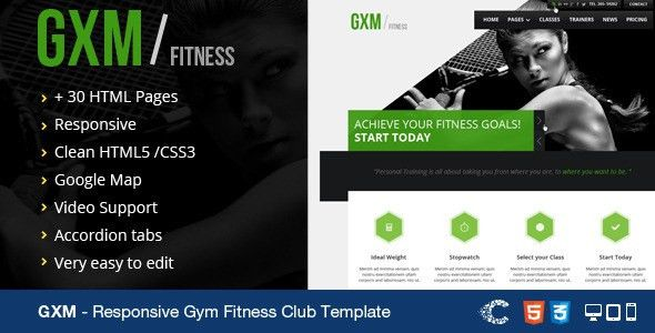 GXM-Responsive Gym Fitness Club HTML Template by CoralixThemes ...