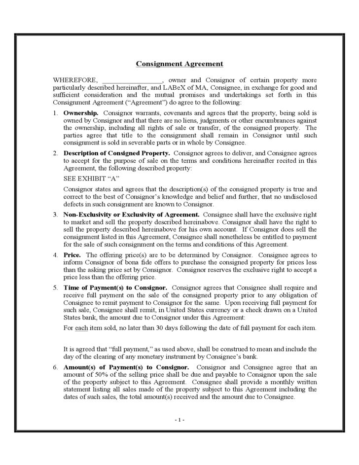 Consignment Agreement Sample Form Free Download
