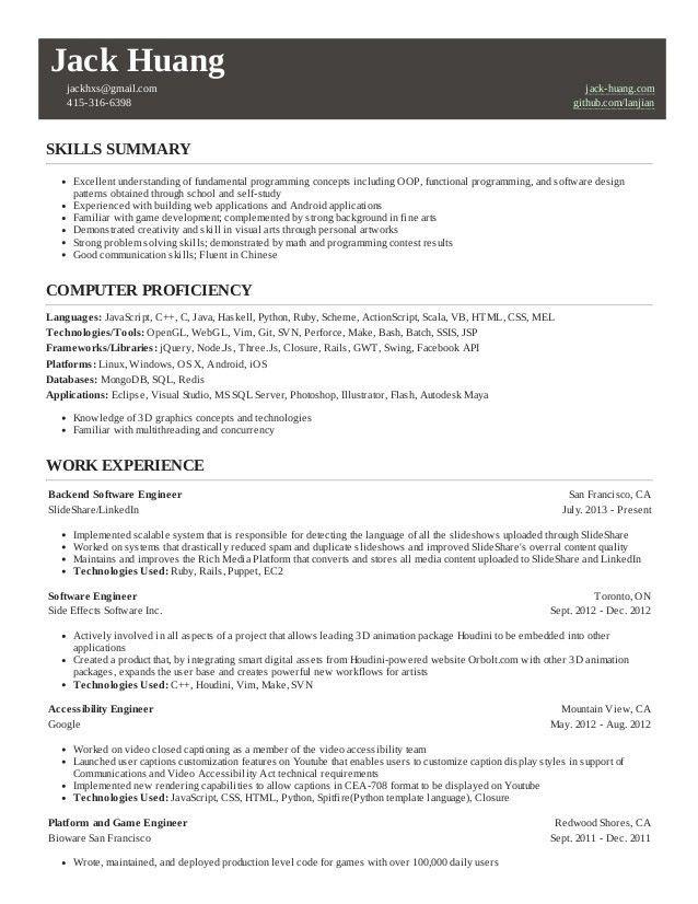 Jack huang's resume