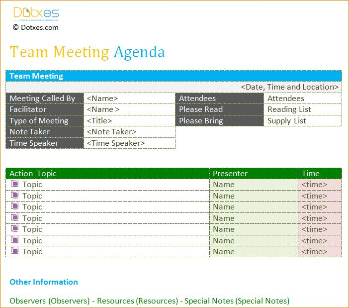 6+ team meeting agenda template | Outline Templates