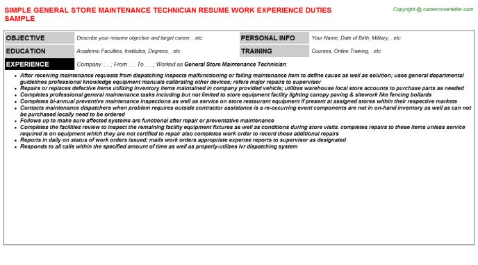 general maintenance technician resume