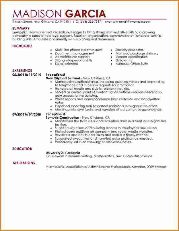 8+ front desk receptionist resume samples   Invoice Template Download