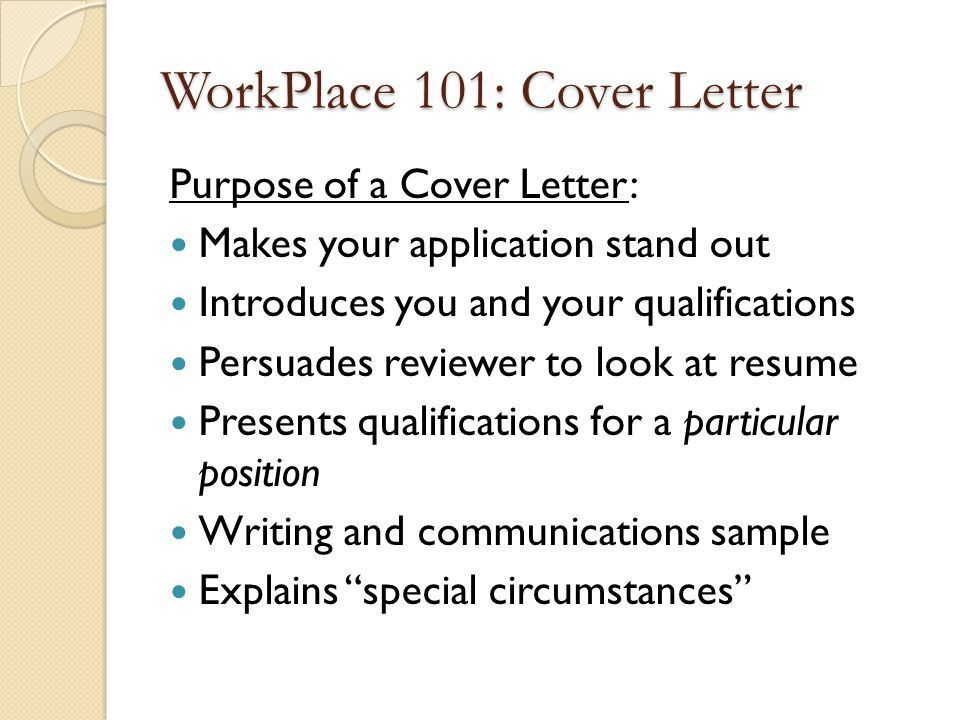 cover letter purpose of resume cover letter the purpose of a cover ...