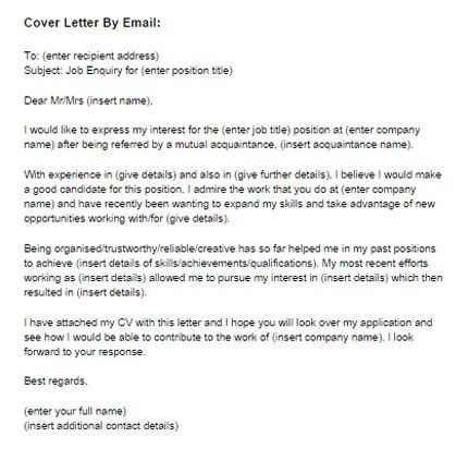 Cover Letter for a Job by Email Sample | Just Letter Templates