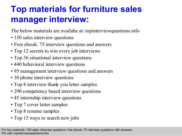 furniture sales resumes