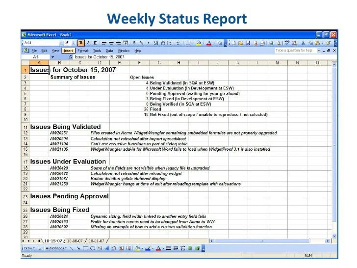 Essential Software, Inc. Weekly Status Report