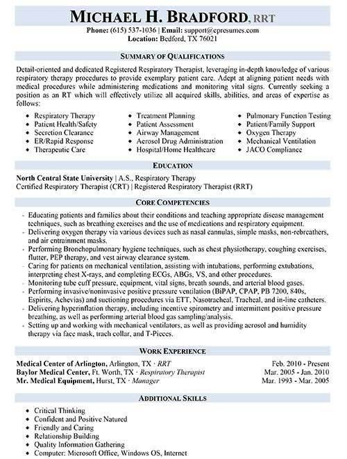 Respiratory Therapist Resume Examples. Personal Care Assistant ...