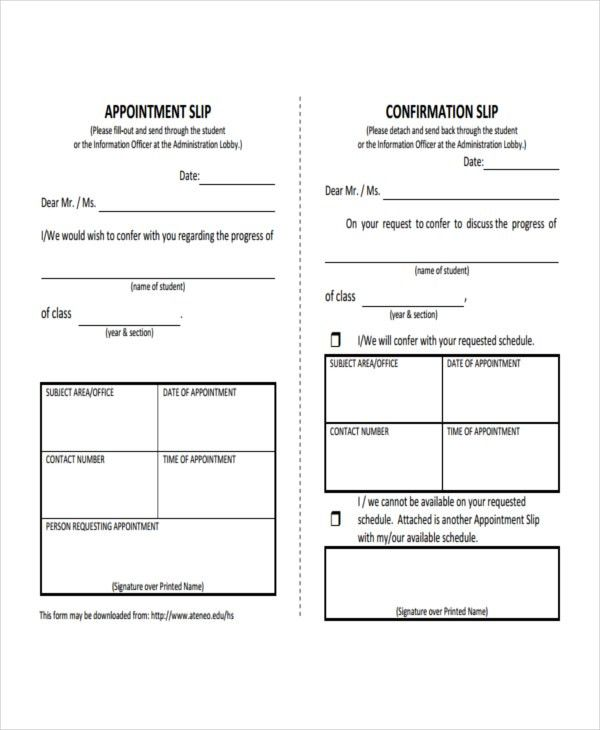 10+ Slip Templates - Free Sample, Example, Format | Free & Premium ...
